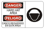 DANGER/PELIGRO HARD HAT AREA (Symbol) Bilingual Sign - Choose 10 X 14 - 14 X 20, Self Adhesive Vinyl, Plastic or Aluminum.