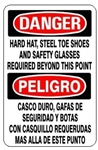 Bilingual Danger Hard Hat, Steel Toe Shoes and Safety Glasses Required Beyond This Point Sign - Choose 10 X 14 - 14 X 20, Self Adhesive Vinyl, Plastic or Aluminum.