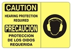CAUTION / PRECAUCION HEARING PROTECTION REQUIRED Bilingual Sign - Choose 10 X 14 - 14 X 20, Self Adhesive Vinyl, Plastic or Aluminum.