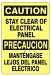 CAUTION STAY CLEAR OF ELECTRICAL PANEL Bilingual Sign - Choose 10 X 14 - 14 X 20, Self Adhesive Vinyl, Plastic or Aluminum.