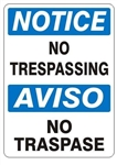 NOTICE/AVISO NO TRESPASSING Bilingual Sign - Choose 10 X 14 - 14 X 20, Self Adhesive Vinyl, Plastic or Aluminum.
