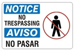 NOTICE/AVISO NO TRESPASSING Bilingual (Symbol) Safety Sign - Choose 10 X 14 - 14 X 20, Self Adhesive Vinyl, Plastic or Aluminum.