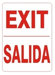 Bilingual EXIT Sign - Choose 10 X 14 - 14 X 20, Self Adhesive Vinyl, Plastic or Aluminum.