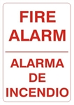 Bilingual FIRE ALARM Sign - Choose 10 X 14 - 14 X 20, Self Adhesive Vinyl, Plastic or Aluminum.