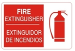 Bilingual FIRE EXTINGUISHER Symbol Sign - Choose 10 X 14 - 14 X 20, Self Adhesive Vinyl, Plastic or Aluminum.