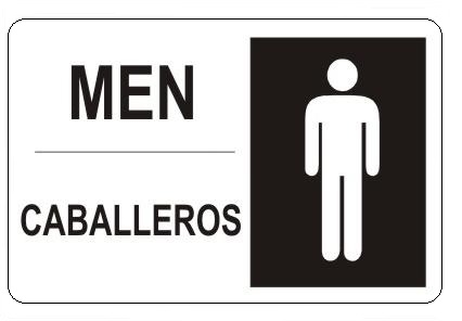 Bilingual MENu0027s Restroom Sign   Choose 10 X 14   14 X 20, Self Adhesive