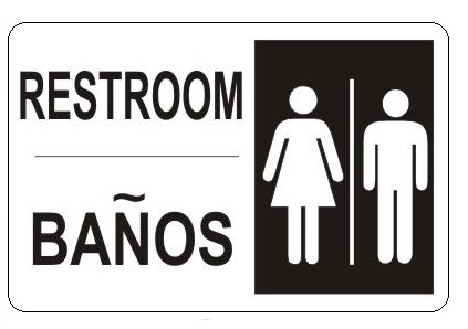 Bathroom Signs English And Spanish bilingual, restroom, signs