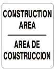 Bilingual CONSTRUCTION AREA Sign - Choose 10 X 14 - 14 X 20, Self Adhesive Vinyl, Plastic or Aluminum.