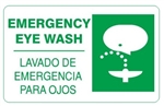 Bilingual EMERGENCY EYE WASH Sign - Choose 10 X 14 - 14 X 20, Self Adhesive Vinyl, Plastic or Aluminum.