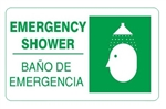 Bilingual EMERGENCY SHOWER Sign, Choose 10 X 14 - 14 X 20, Self Adhesive Vinyl, Plastic or Aluminum.