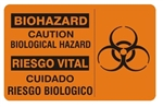 Bilingual BIOHAZARD CAUTION Sign - Choose 10 X 14 - 14 X 20, Self Adhesive Vinyl, Plastic or Aluminum.
