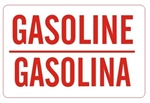 Bilingual GASOLINE Sign - Choose 10 X 14 - 14 X 20, Self Adhesive Vinyl, Plastic or Aluminum.