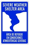 Bilingual SEVERE WEATHER SHELTER AREA Sign - Choose 10 X 14 - 14 X 20, Self Adhesive Vinyl, Plastic or Aluminum.