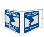 Bilingual SEVERE WEATHER SHELTER AREA 3-Way Wall Projection Sign, Unique 180° design visible from either side as well as from the front