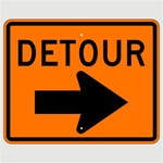 24 X 30 DETOUR arrow right Construction Traffic Sign - Choose Engineer Grade, High Intensity or Diamond Grade Reflective