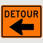 24 x 30 DETOUR arrow Left Construction Traffic Sign, Choose Engineer Grade, High Intensity or Diamond Grade Reflective