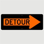 Construction Traffic Sign DETOUR arrow right, 18 X 48 Aluminum - Choose Engineer Grade, High Intensity or Diamond Grade Reflective