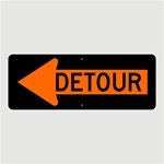 Construction DETOUR arrow left Sign, 18 X 48 Aluminum - Choose Engineer Grade, High Intensity or Diamond Grade Reflective