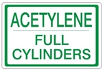 ACETYLENE FULL CYLINDERS, Gas Cylinder Sign, 7 X 10 Pressure Sensitive Vinyl