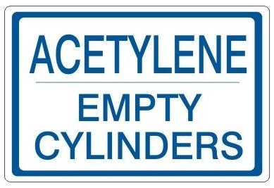 ACETYLENE EMPTY CYLINDERS, Gas Cylinder Sign, 7 X 10 Pressure Sensitive Vinyl