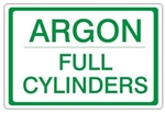 ARGON FULL CYLINDERS, Gas Cylinder Sign, 7 X 10 Pressure Sensitive Vinyl