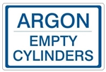 ARGON EMPTY CYLINDERS, Gas Cylinder Sign, 7 X 10 Pressure Sensitive Vinyl