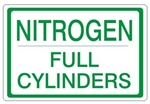 "NITROGEN FULL CYLINDERS, Gas Cylinder Sign, 7"" X 10"" Pressure Sensitive Vinyl"
