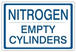 NITROGEN EMPTY CYLINDERS, Gas Cylinder Sign, 7 X 10 Pressure Sensitive Vinyl
