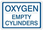 OXYGEN EMPTY CYLINDERS, Gas Cylinder Sign, 7 X 10 Pressure Sensitive Vinyl
