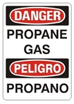 DANGER / PELIGRO PROPANE GAS, Bilingual Safety Sign, Choose 7 X 10 - 10 X 14, Self Adhesive Vinyl, Plastic or Aluminum