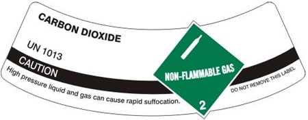 CARBON DIOXIDE CYLINDER LABEL, Labels are 2 x 5.5 Sold 5 per package