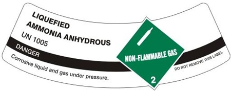 LIQUEFIED AMMONIA ANHYDROUS CYLINDER LABEL, Labels are 2 x 5.5 Sold 5 per package