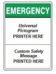 Custom Worded ANSI Emergency Header Signs - Choose from 3 Sizes 7 X 10, 10 X 14 or 14 X 20 and 4 Constructions Pressure Sensitive Vinyl. Plastic, Aluminum or Fiberglass - It's easy to make your own custom safety signs using our compliant templates