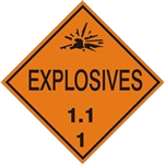 DOT PLACARD - EXPLOSIVES, 1.1  - CLASS 1, Choose from 4 Materials: Press on Vinyl, Rigid Plastic, Aluminum or Magnetic.