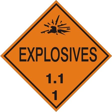 Explosives 1 1 Class 1 Placard