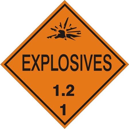 Explosives 1 2 Class 1 Placard