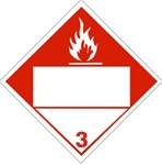 DOT PLACARD, COMBUSTIBLE LIQUIDS, (BLANK 4 DIGIT BOX) CLASS 3, Choose from 4 Constructions