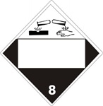 DOT PLACARD (CORROSIVE PICTO) BLANK BOX CLASS 8, Choose from 4 Constructions