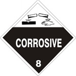 DOT PLACARD - CORROSIVE - CLASS 8, Choose from 4 Constructions