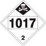 DOT PLACARD 1017 CHLORINE, Choose from 4 Materials: Press On Vinyl, Rigid Plastic, Aluminum or Magnetic