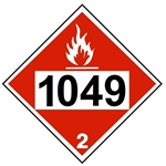 DOT PLACARD 1049 HYDROGEN, COMPRESSED, Flammable Gas, Class 2 - Choose from 4 Materials: Press On Vinyl, Rigid Plastic, Aluminum or Magnetic
