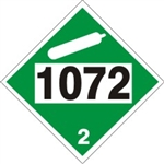 DOT PLACARD 1072 OXYGEN COMPRESSED, Non-Flammable Gas, Class 2 -  Choose from 4 Materials: Pressure Sensitive Vinyl, Rigid Plastic, Aluminum or Magnetic