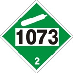 DOT PLACARD 1073, OXYGEN, REFRIGERATED LIQUID, Non Flammable Gas, Class 2 - Choose from 4 Materials: Press On Vinyl, Rigid Plastic, Aluminum or Magnetic