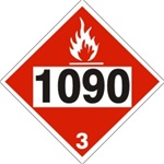 DOT PLACARD 1090 ACETONE, Flammable Gas, Class 3 - Choose from 4 Materials: Pressure Sensitive Vinyl, Rigid Plastic, Aluminum or Magnetic