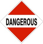 DOT PLACARD DANGEROUS (RED TRIANGLE TOP & BOTTOM), Choose from 4 Materials: Press On Vinyl, Rigid Plastic, Aluminum or Magnetic