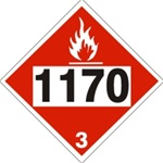 DOT PLACARD 1170 ETHYL ALCOHOL, ETHANOL, Flammable Liquid, Class 3 - Choose from 4 Materials: Pressure Sensitive Vinyl, Rigid Plastic, Aluminum or Magnetic