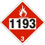 DOT PLACARD 1193 ETHYL METHYL KETONE, Flammable Liquid, Class 3 - Choose from 4 Materials: Pressure Sensitive Vinyl, Rigid Plastic, Aluminum or Magnetic