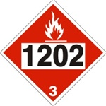 DOT PLACARD 1202 GAS, OIL, DIESEL FUEL, HEATING OIL, Flammable Liquid, Class 3 - Choose from 4 Materials: Pressure Sensitive Vinyl, Rigid Plastic, Aluminum or Magnetic