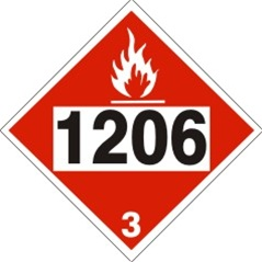 DOT PLACARD 1206 HEPTANES, Flammable Liquid, Class 3 - Choose from 4 Materials: Pressure Sensitive Vinyl, Rigid Plastic, Aluminum or Magnetic