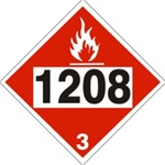 DOT PLACARD 1208 HEXANES, Flammable liquid, Class 3 - Choose from 4 Materials: Press On Vinyl, Rigid Plastic, Aluminum or Magnetic